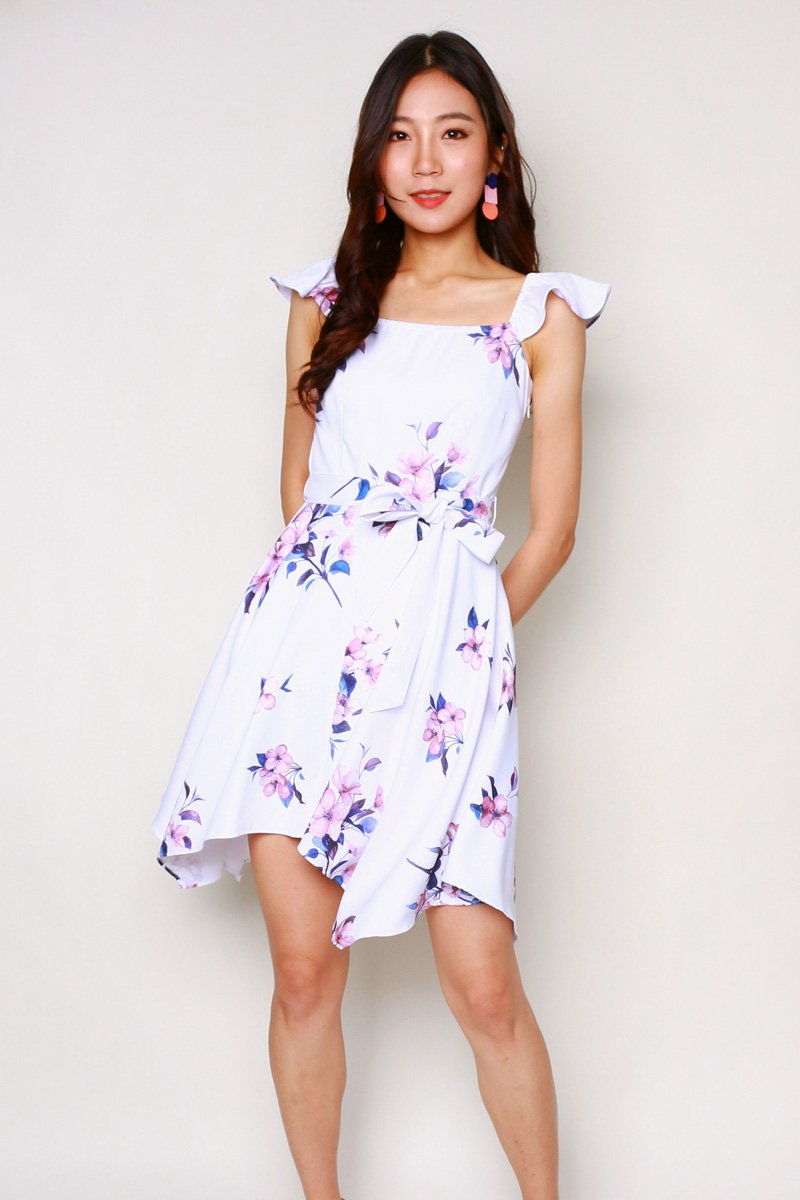 Emilia Floral Ruffle Dress Ivory