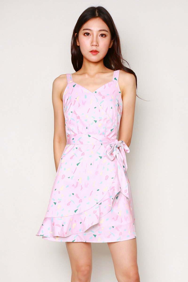 Naomi Print Overlap Ruffle Dress Blush