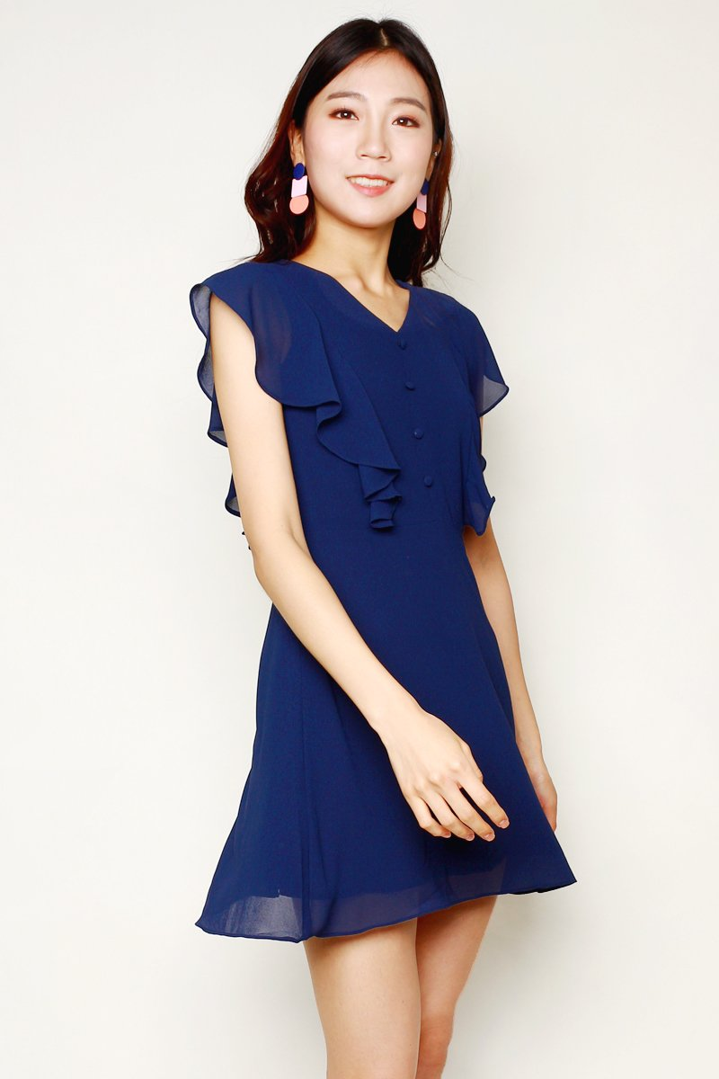 Zaltana Button Down Ruffle Dress Midnight