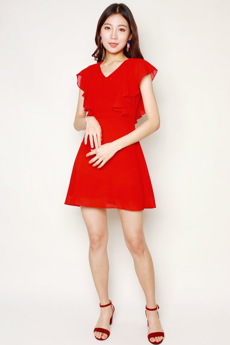 Zaltana Button Down Ruffle Dress Scarlet