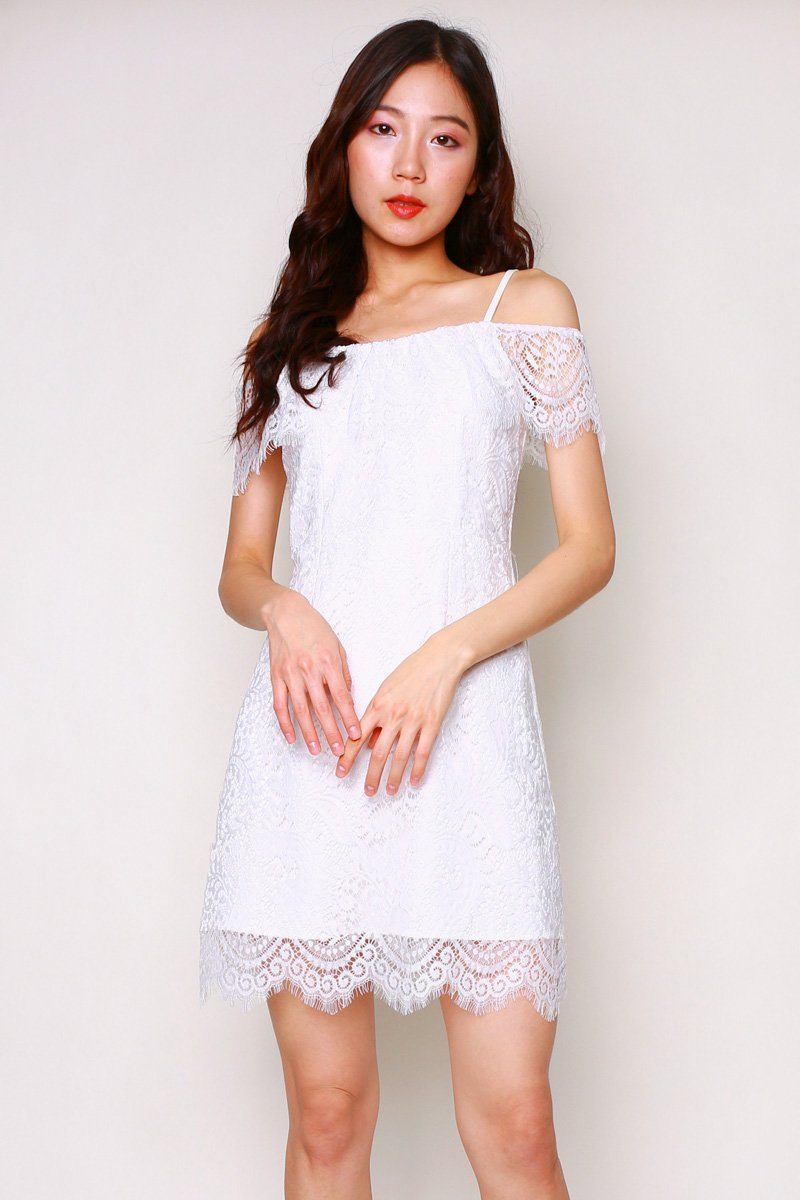 Baie Lace Overlay Dress Ivory