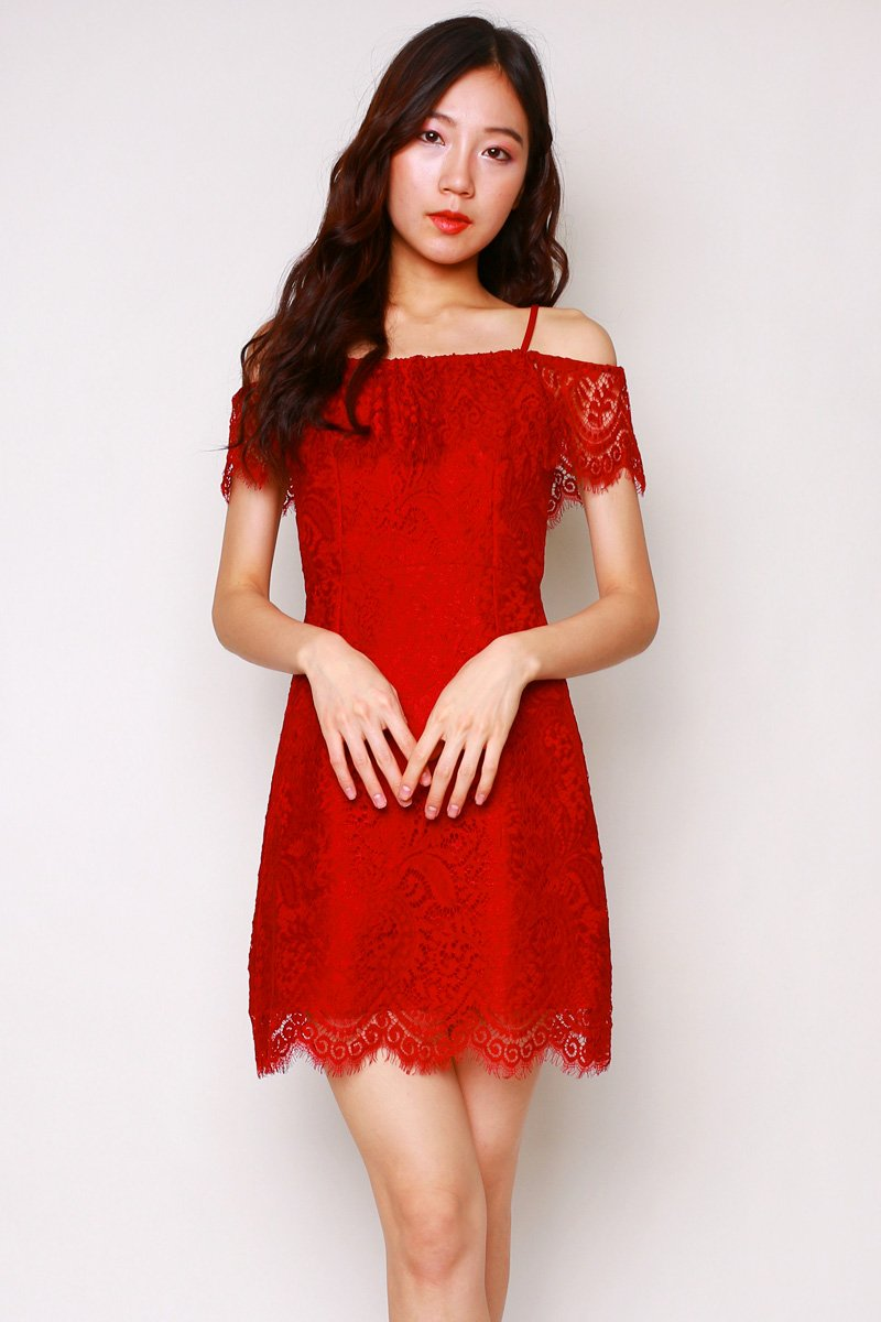 Baie Lace Overlay Dress Wine