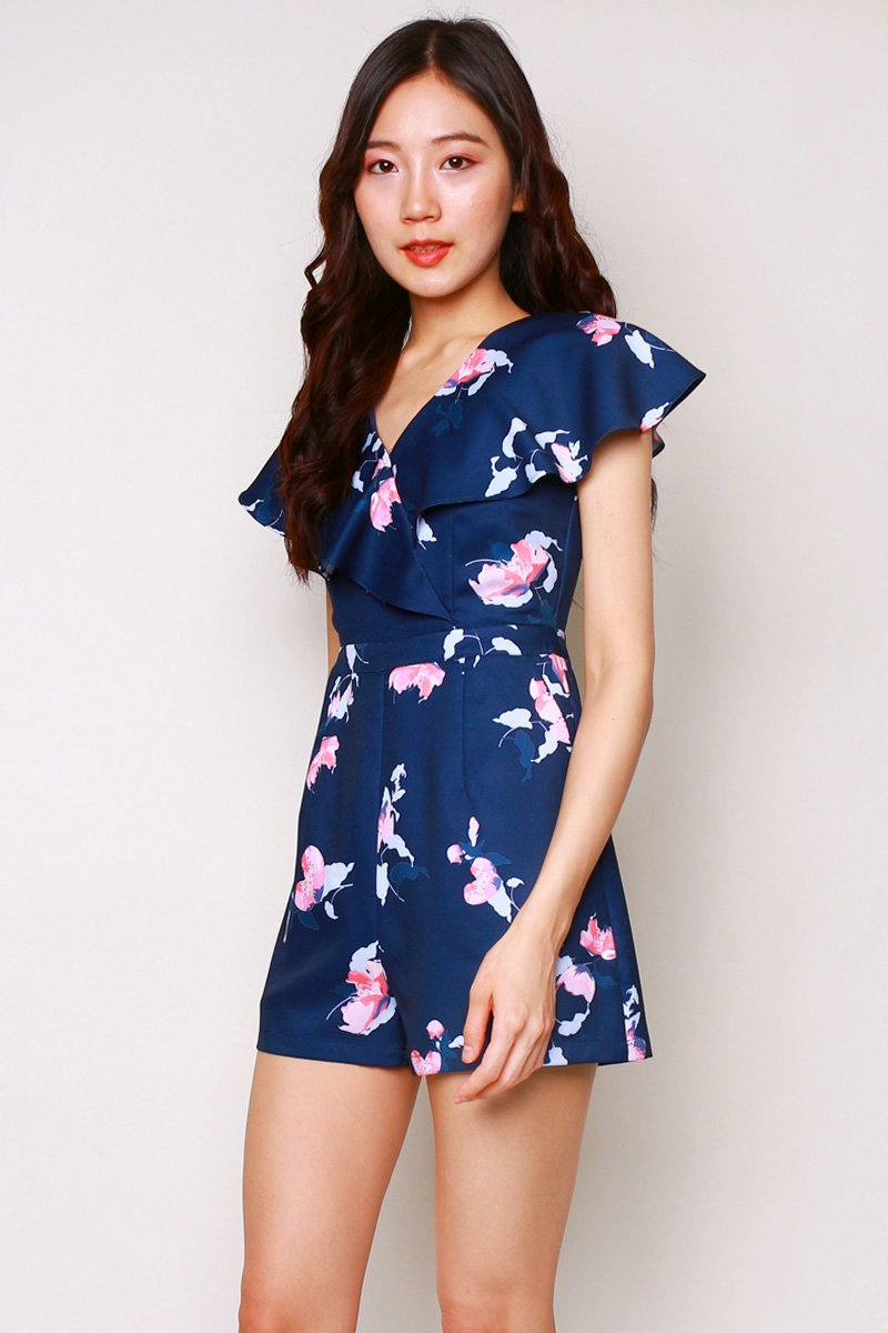 Palmer Floral Ruffle Romper Midnight