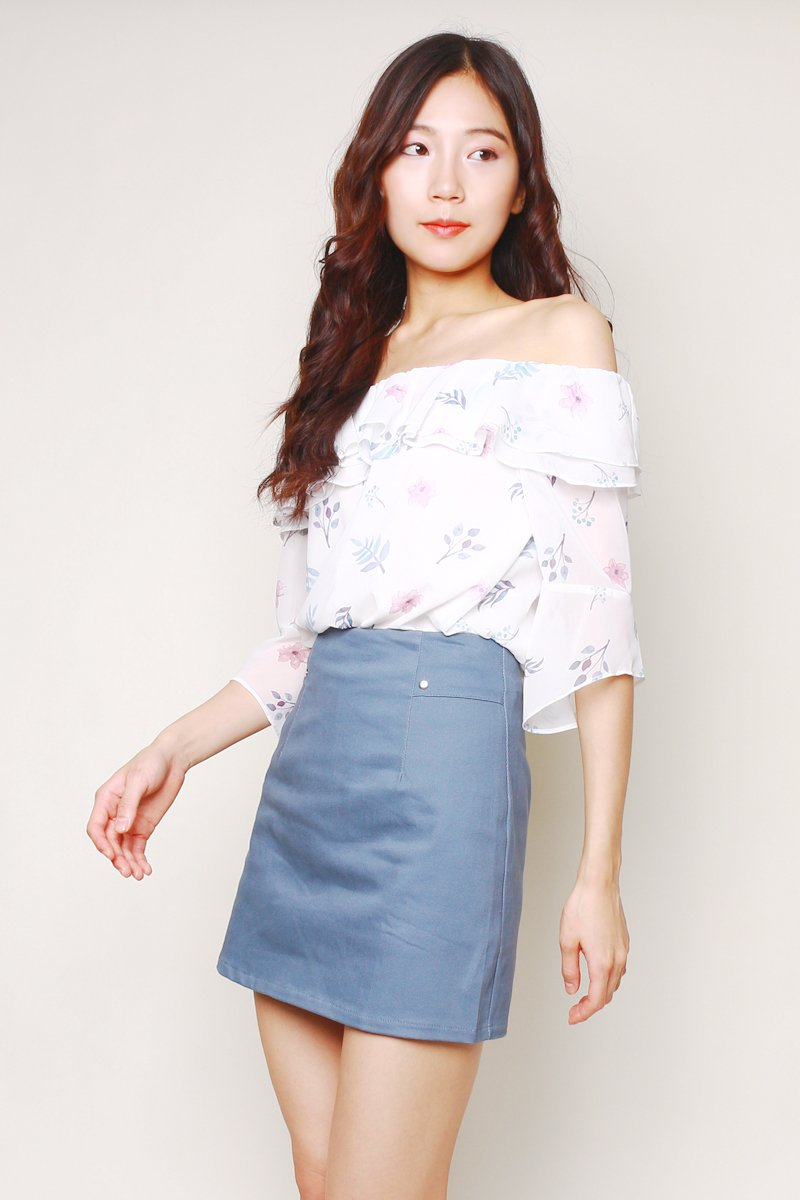 Tanis A-Line Denim Skirt Steel Blue