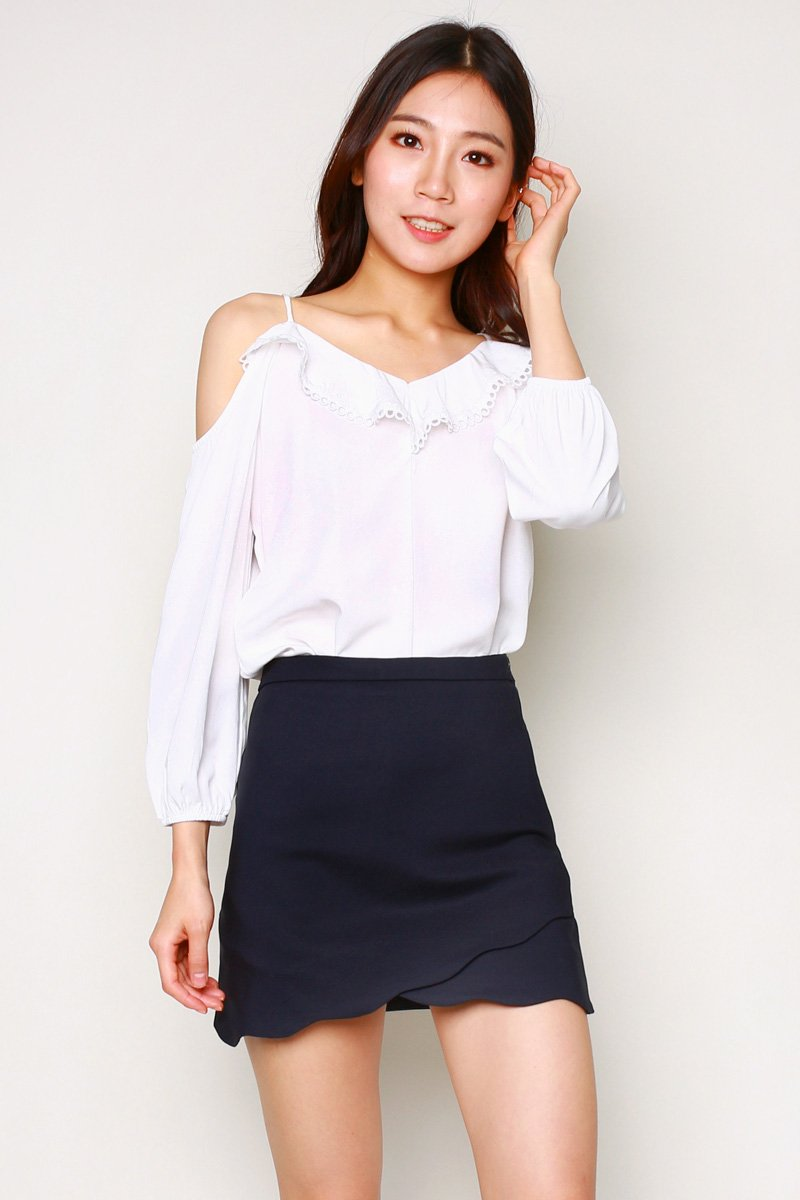 Elena Scallop Hem Skort Midnight
