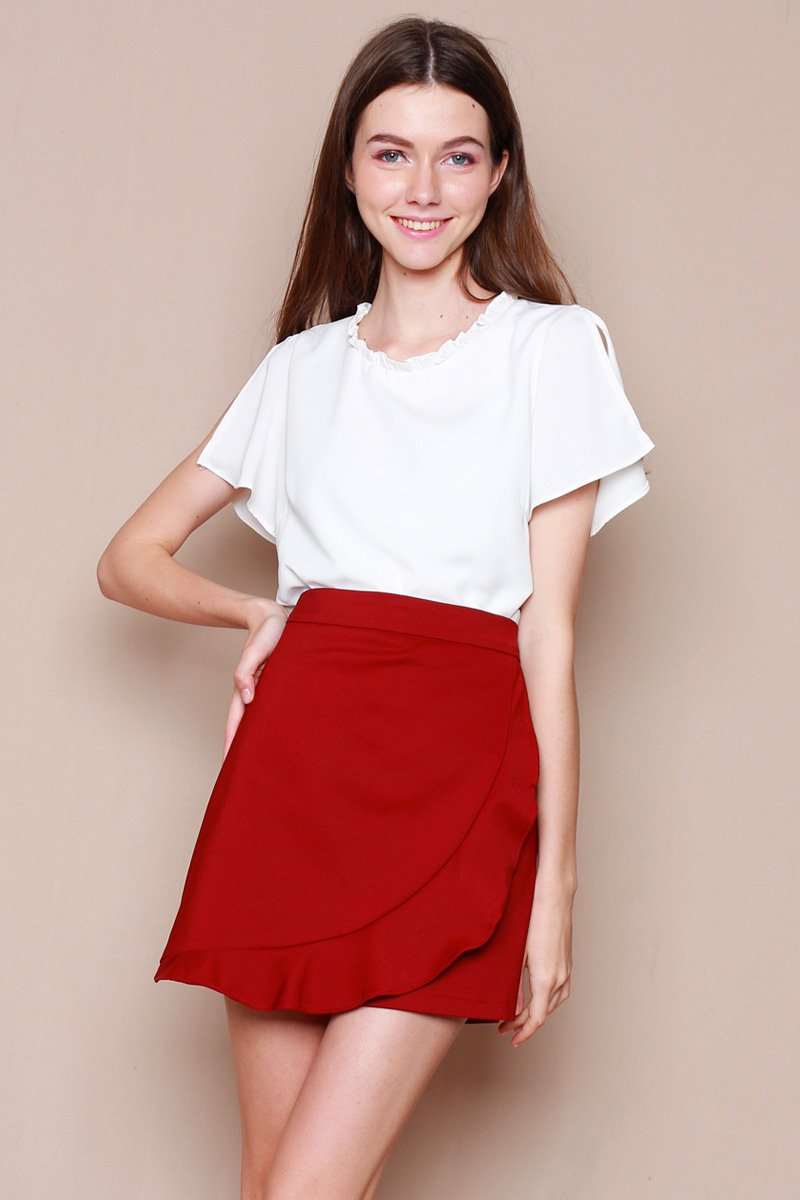 Cassiane Overlap Ruffle Skirt Wine