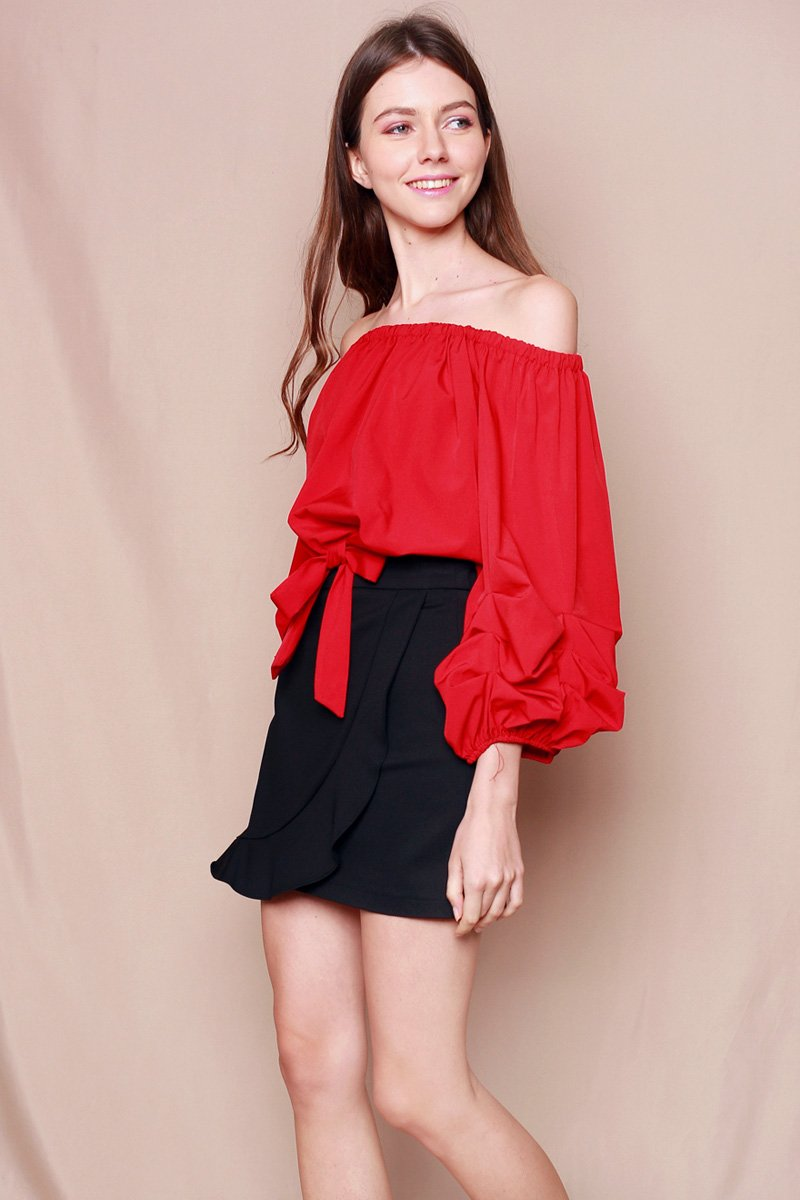 Cassiane Overlap Ruffle Skirt Black