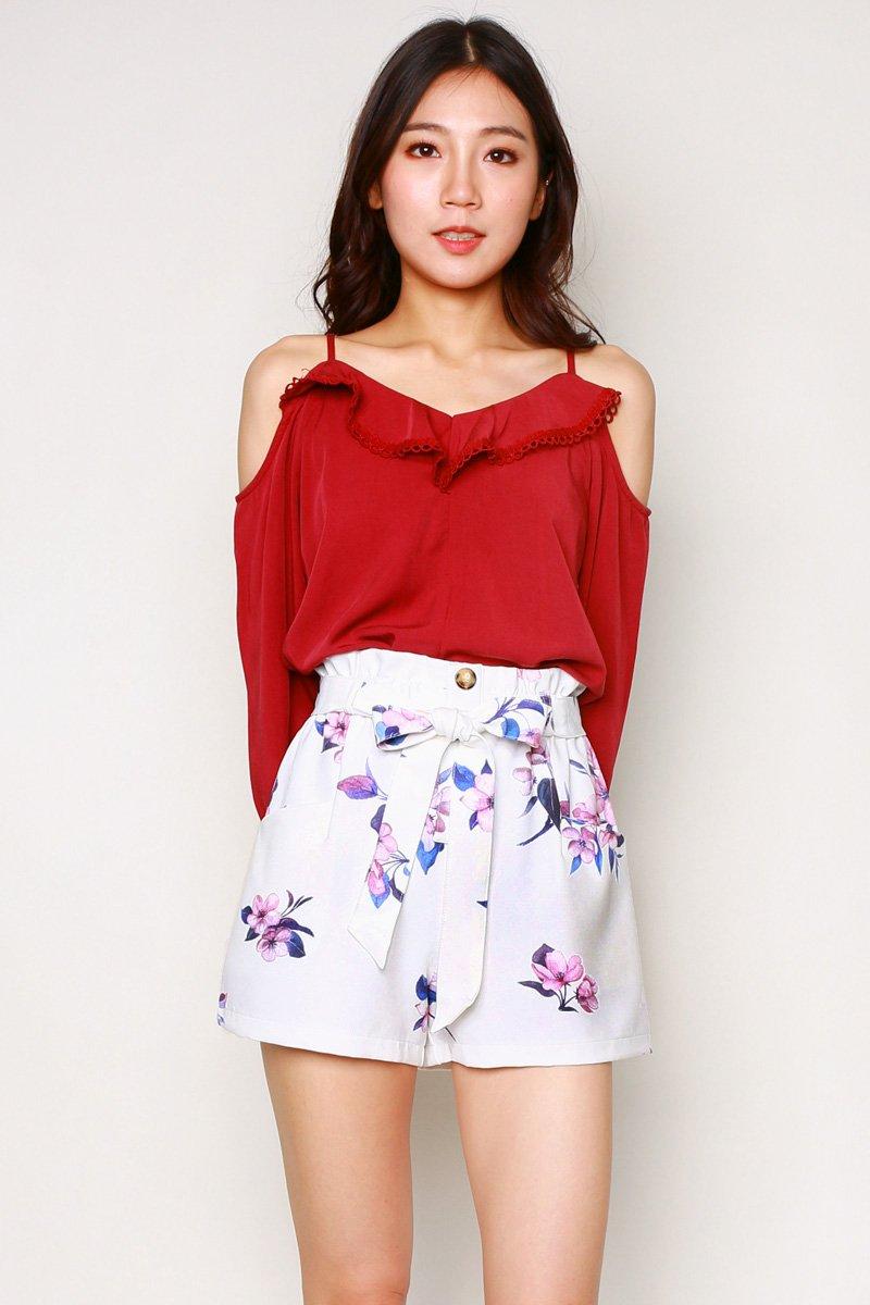 Emilia Floral Paperbag Shorts Ivory