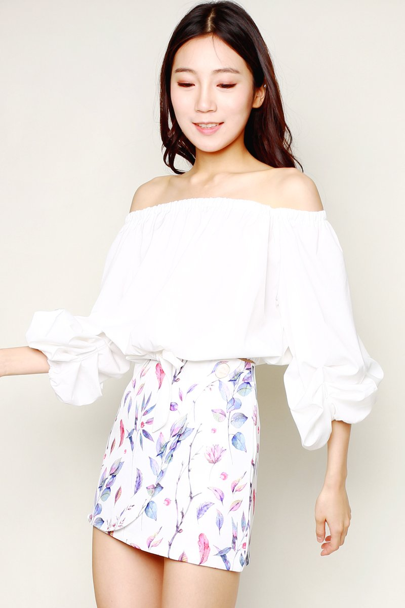 Franca Leaf Print Overlap Skirt Ivory