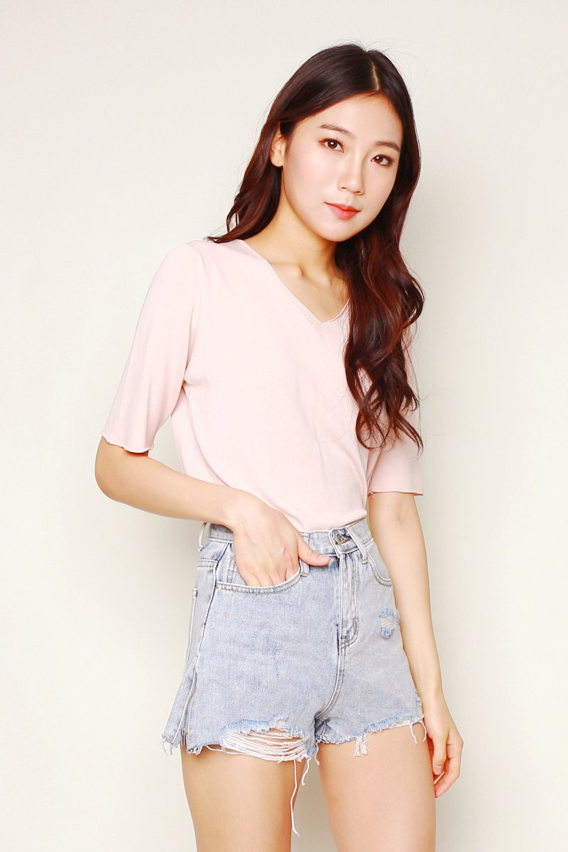 Antonia Soft Knit Top Babypink