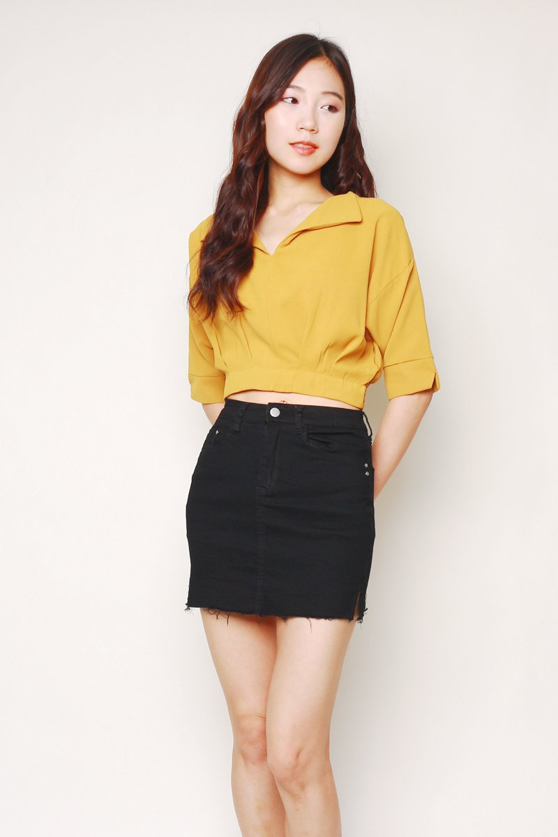 Ereni Cut-Out Smocked Back Top Mustard