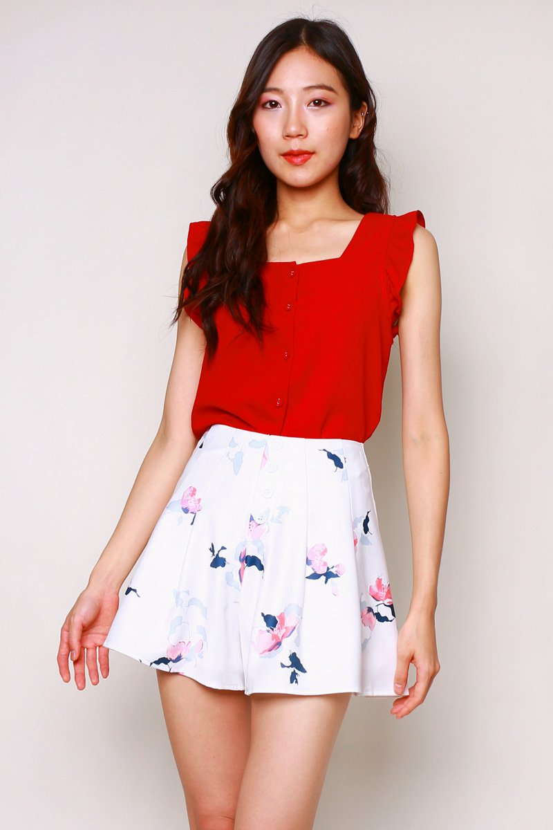 Celie Frill Trim Button Top Scarlet