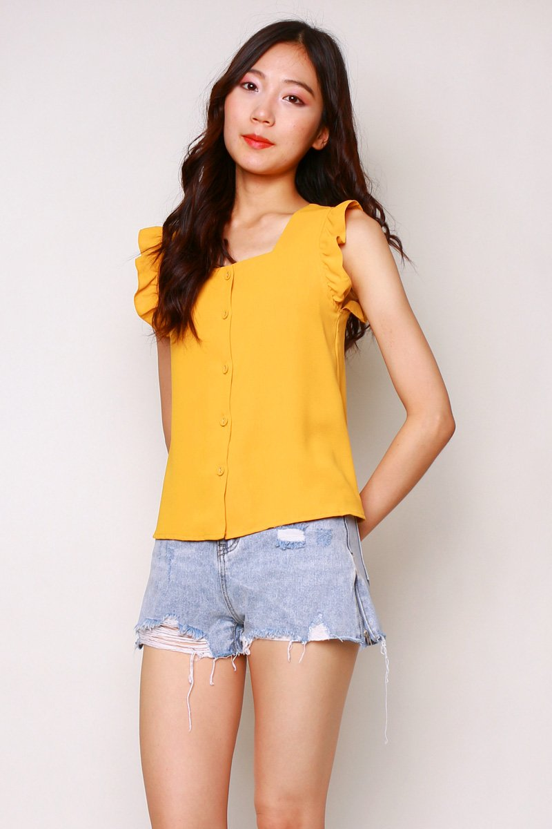 Celie Frill Trim Button Top Mustard