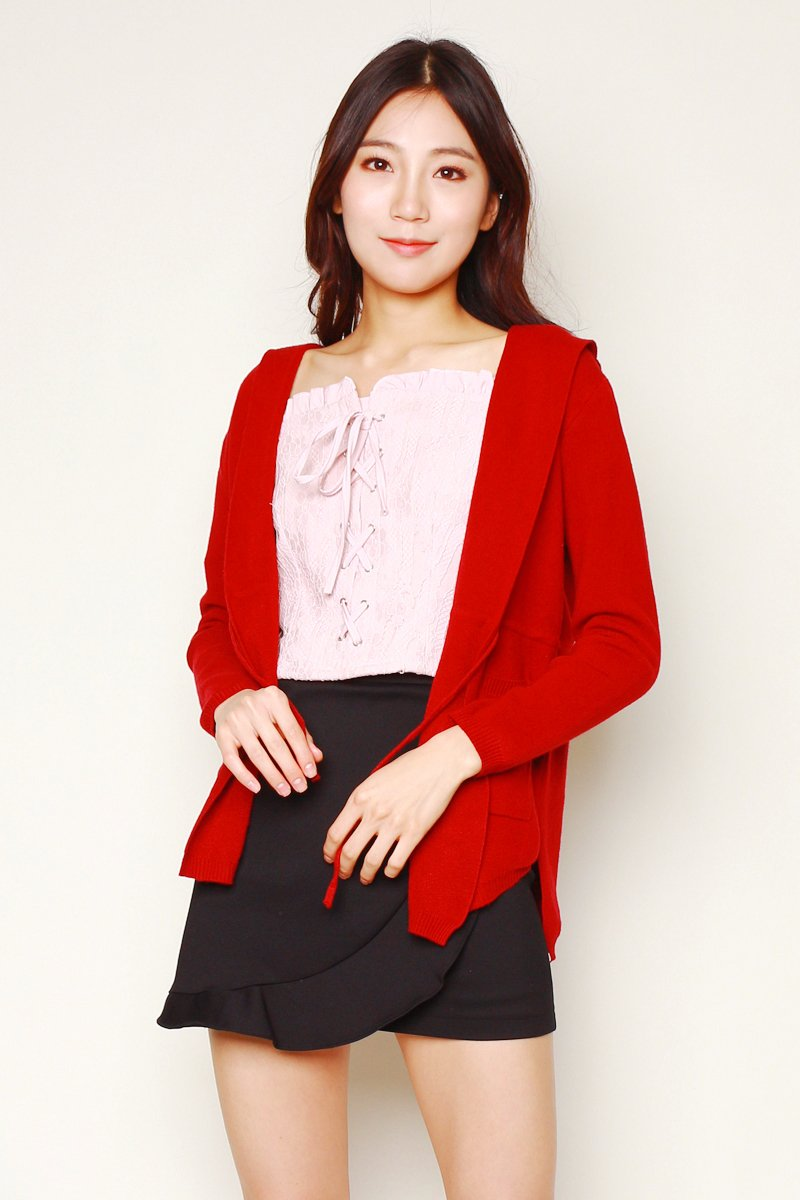 Tirsa Drawstring Knit Cardigan Wine