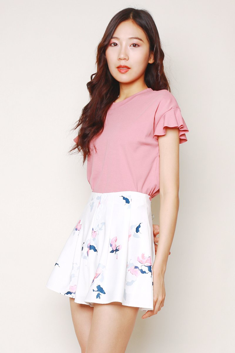 Kiska Ruffle Sleeves Top Blush
