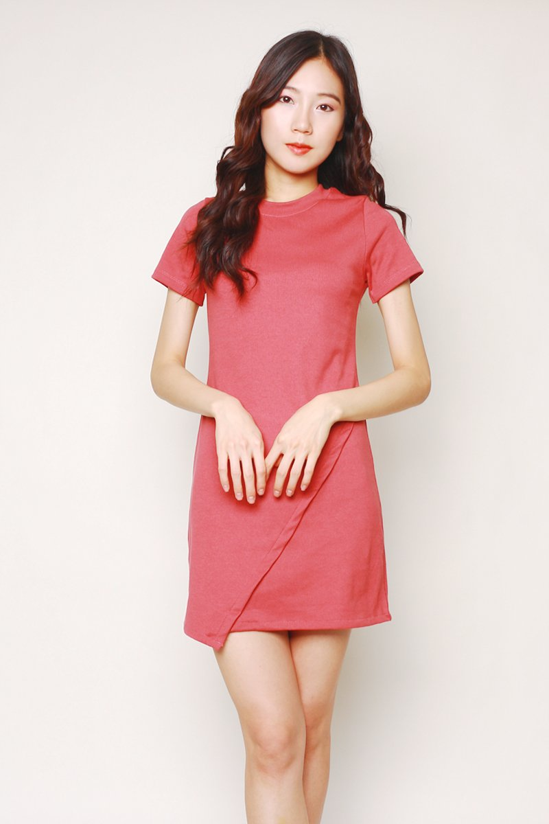 Kiona Asymmetrical Jersey Dress Rust