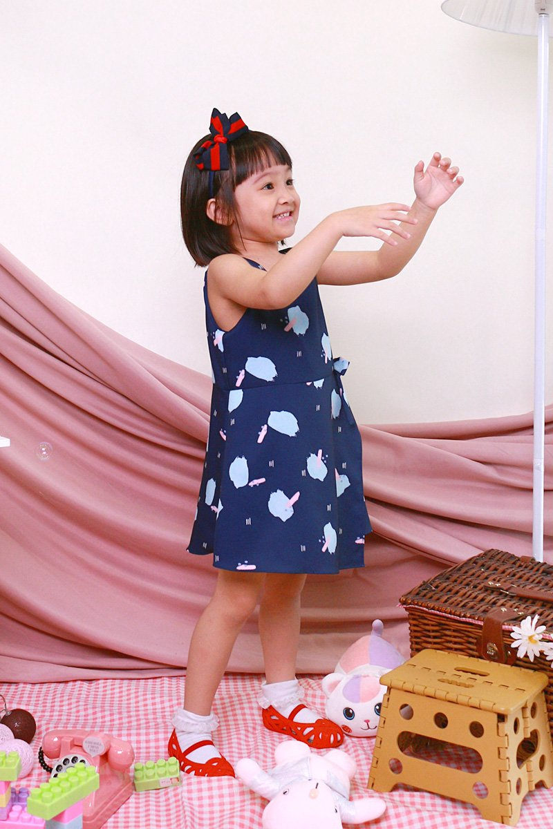 KIDS Melena Print Overlap Dress Midnight
