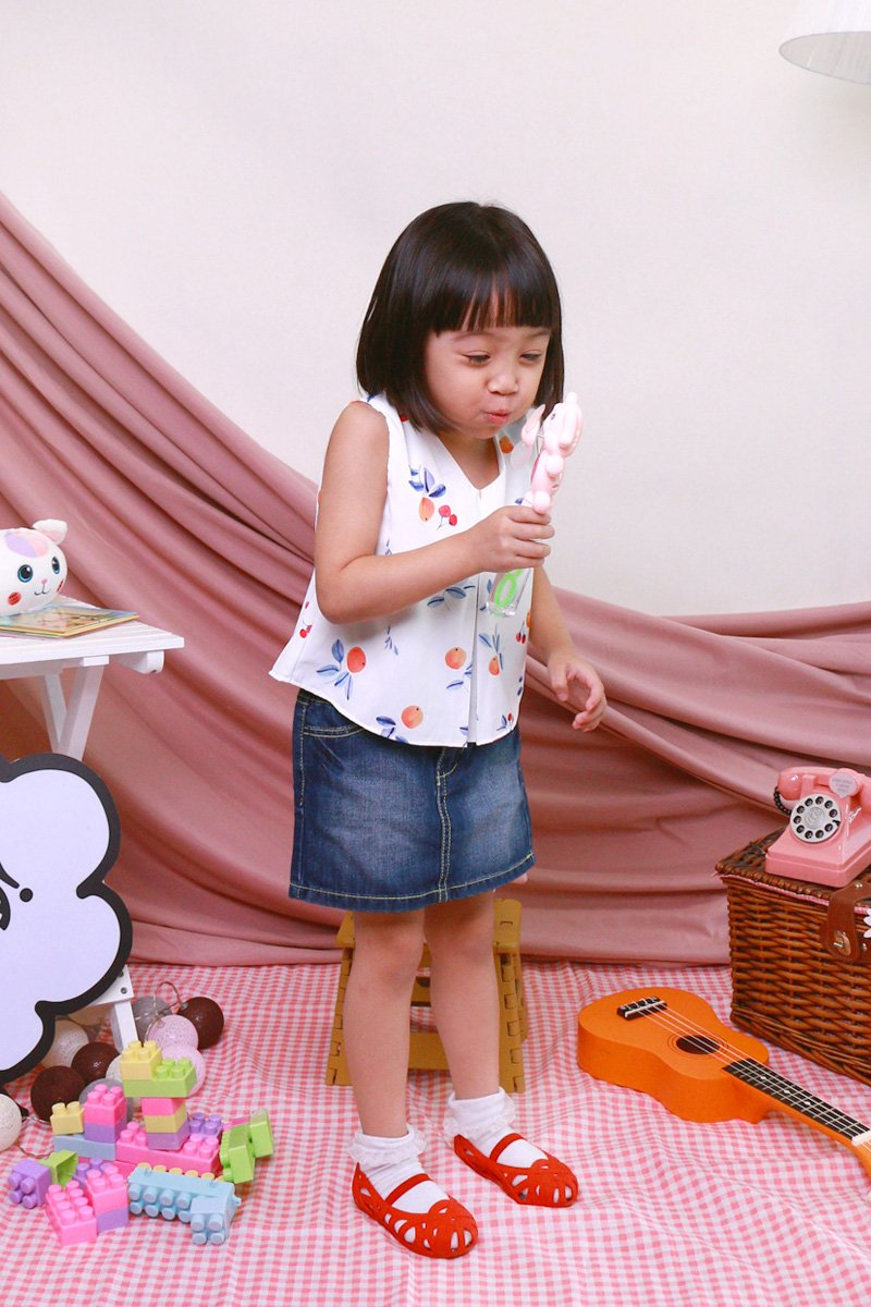 KIDS Gioia Tangerine Tie Back Top Ivory