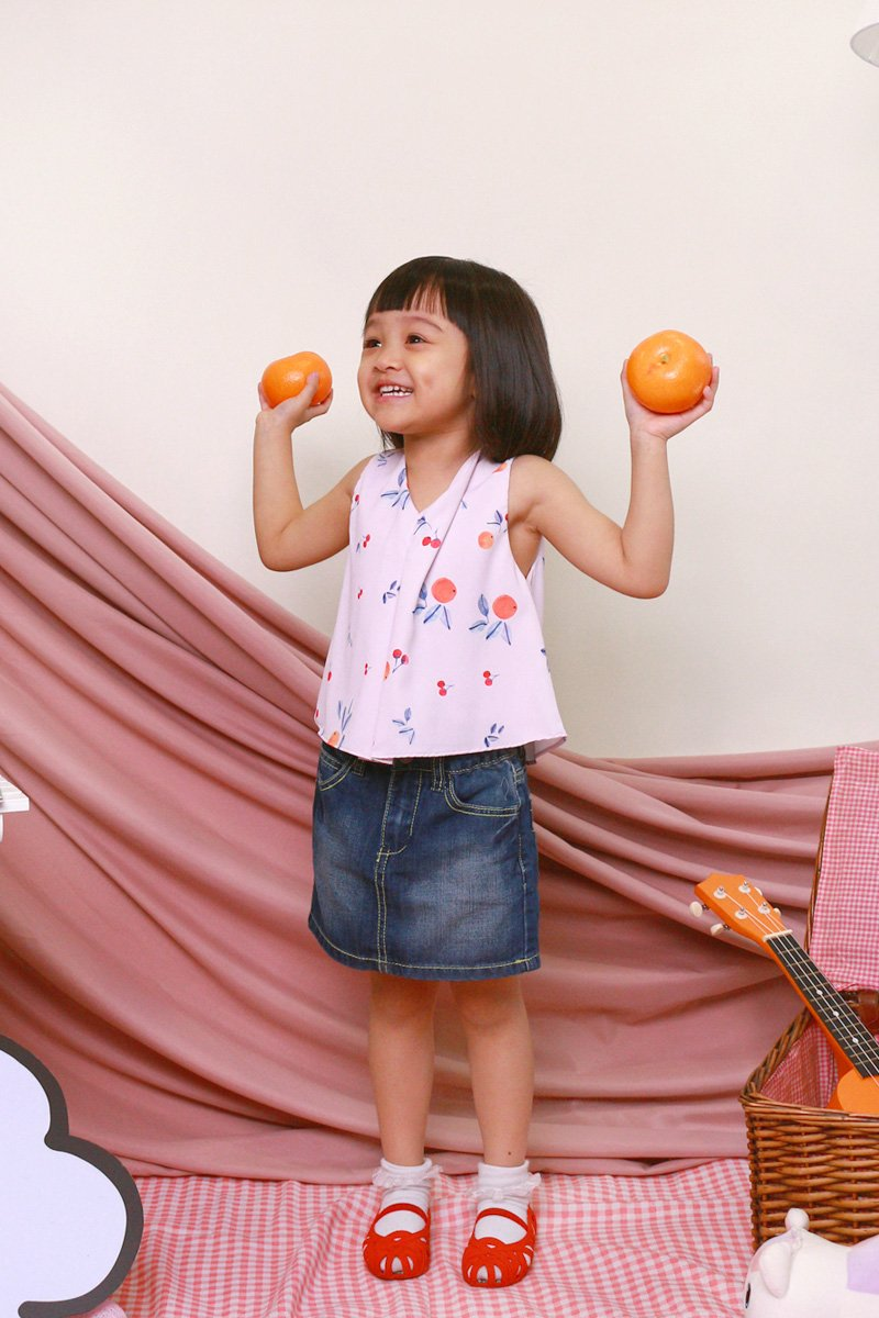 KIDS Gioia Tangerine Tie Back Top Blush