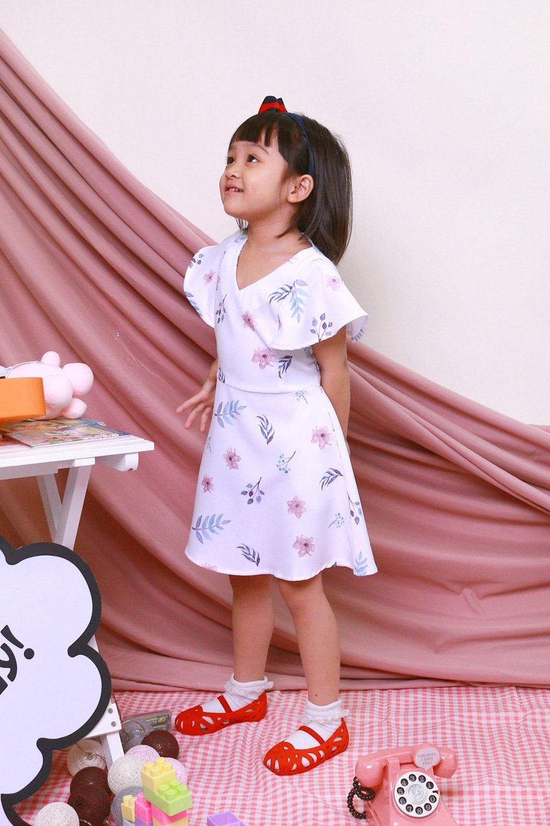 KIDS Carolinda Floral Ruffle Sleeve Dress Ivory