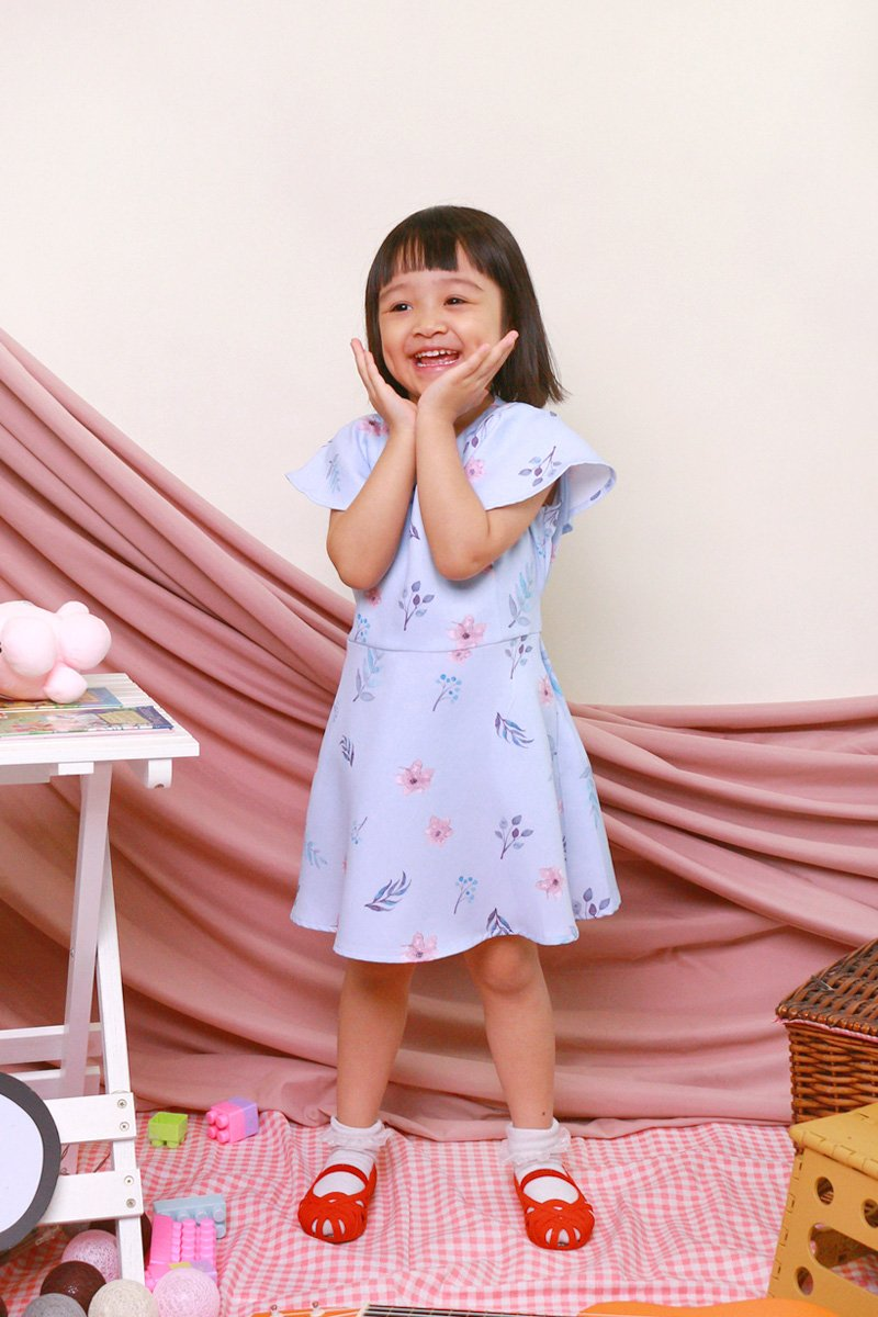 KIDS Carolinda Floral Ruffle Sleeve Dress Sky