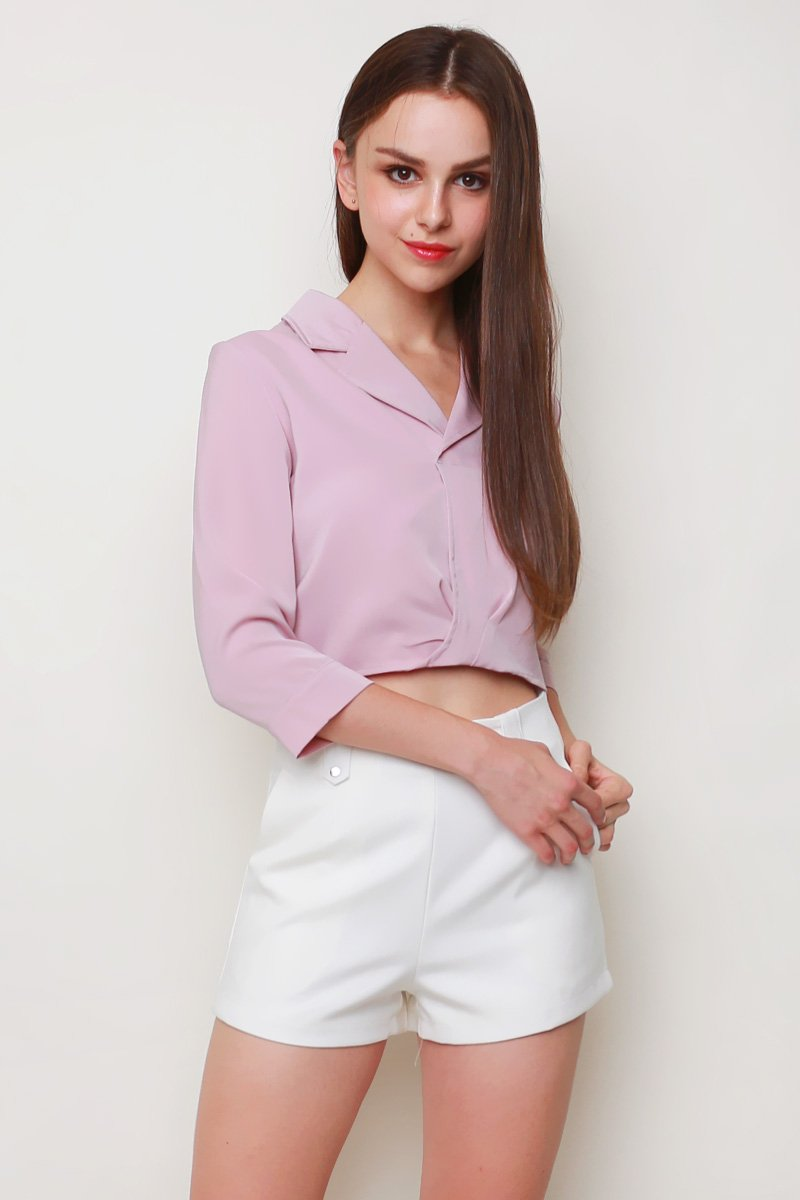 Grayce Collared Crop Shirt Blush