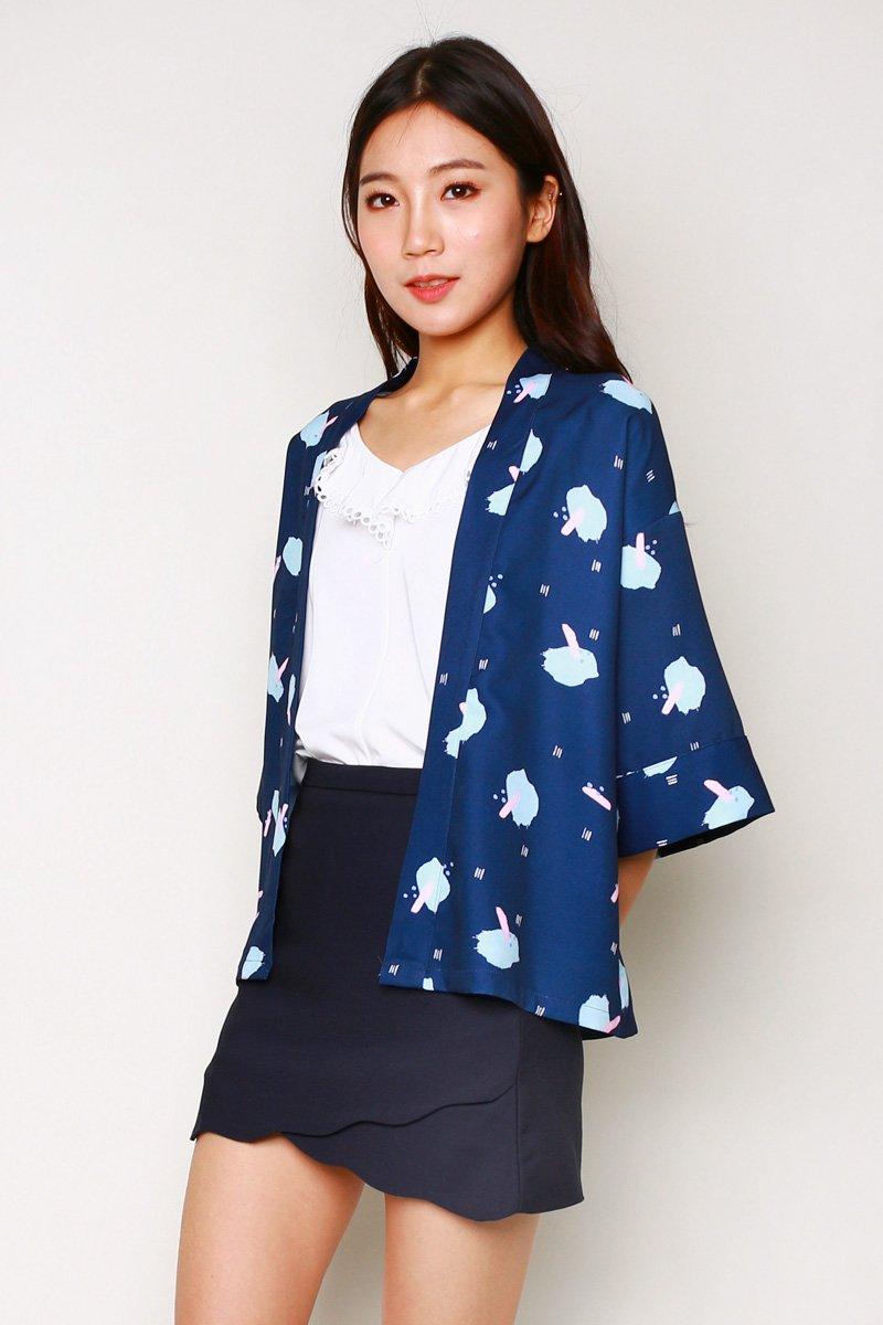 Melena Print Kimono Outerwear Midnight