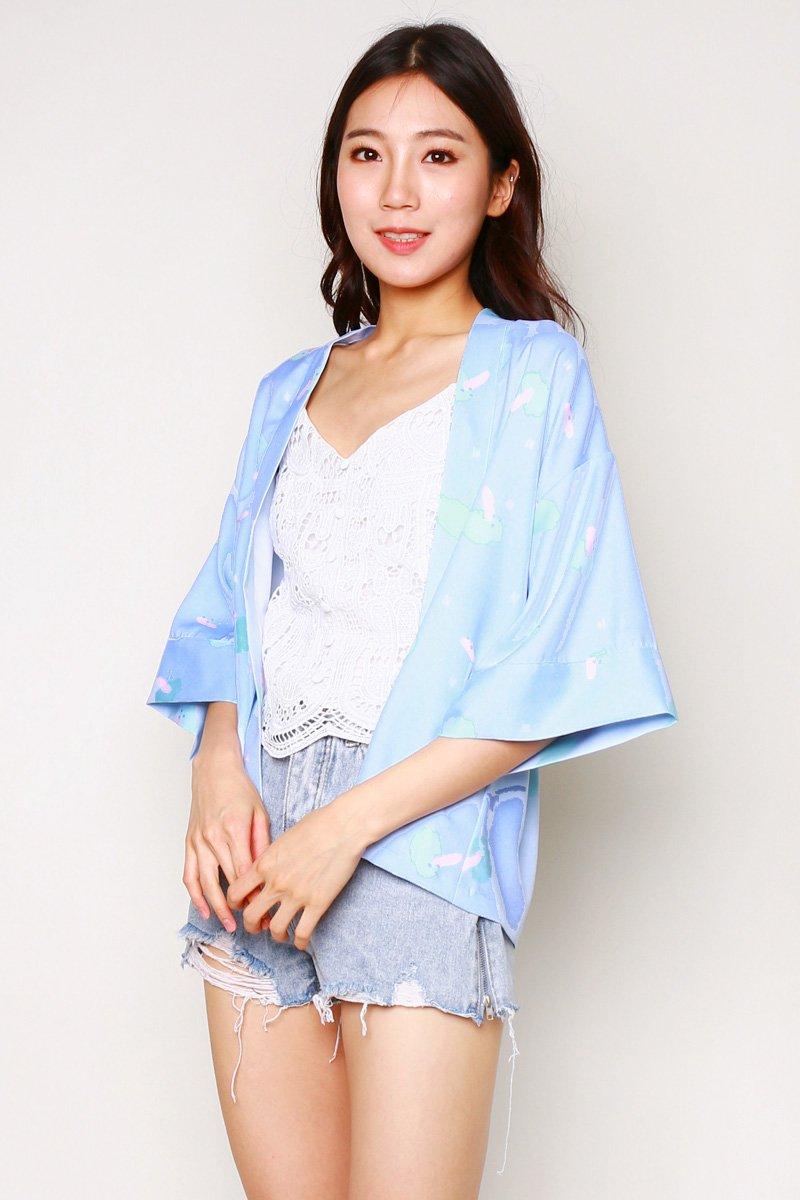 Melena Print Kimono Outerwear Sky