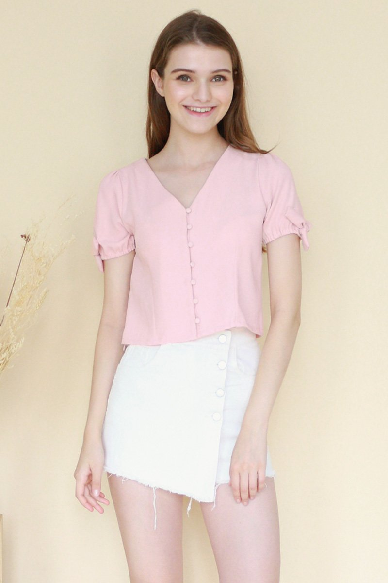 Gaby Puff Sleeve Top Blush