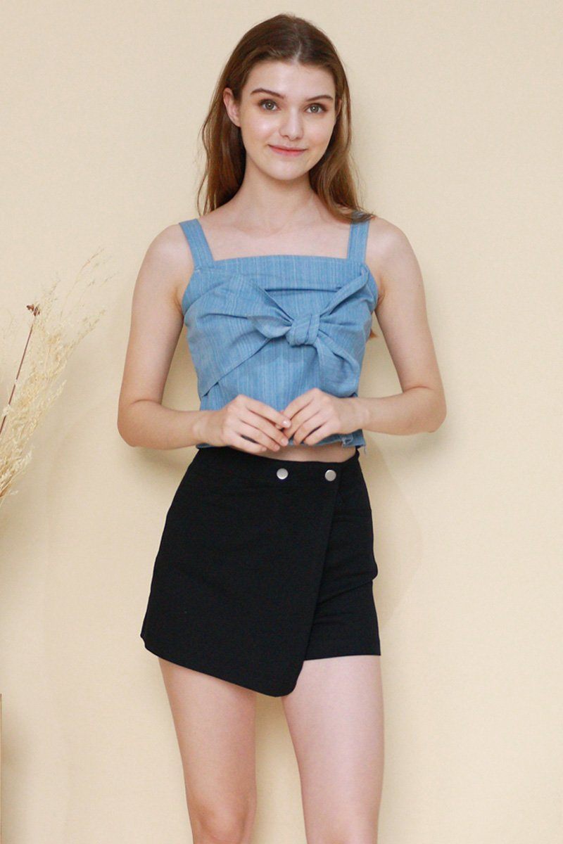 Maeve Front Tie Chambray Top Dark
