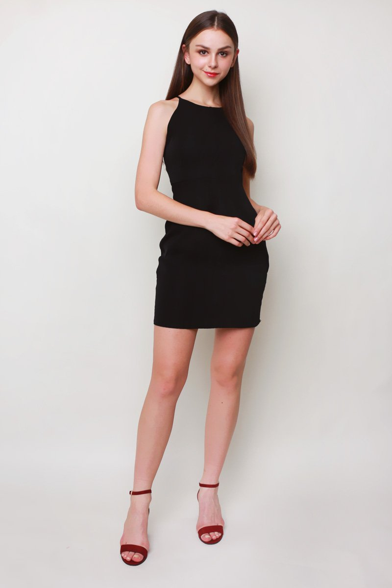Renae Halter Shift Dress Black