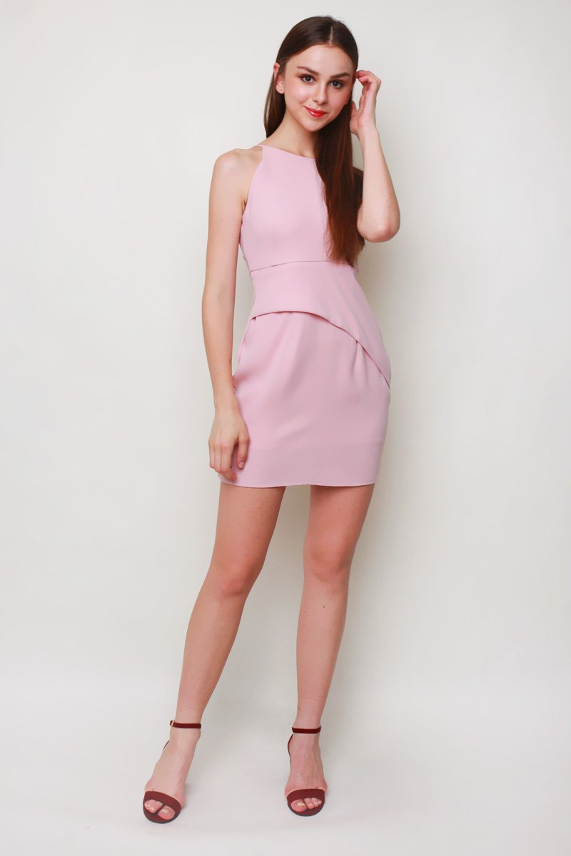 Renae Halter Shift Dress Blush