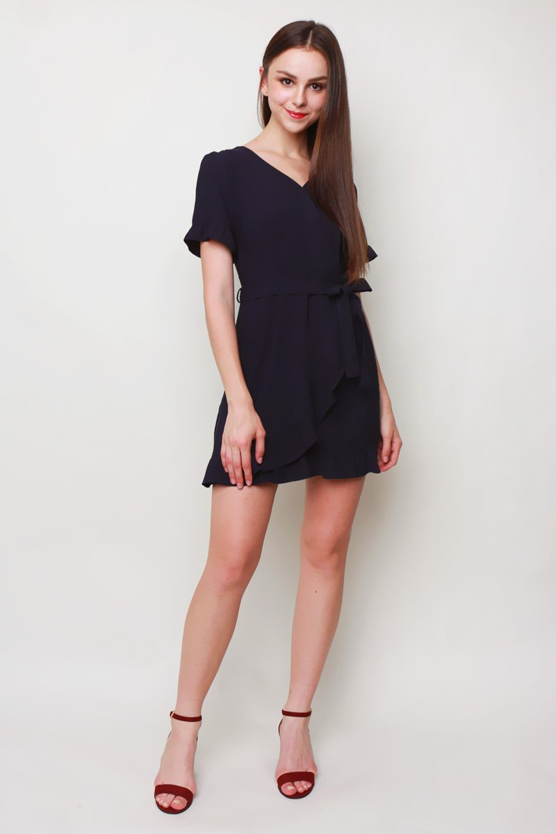 Frances Ruffle Trim Shift Dress Midnight