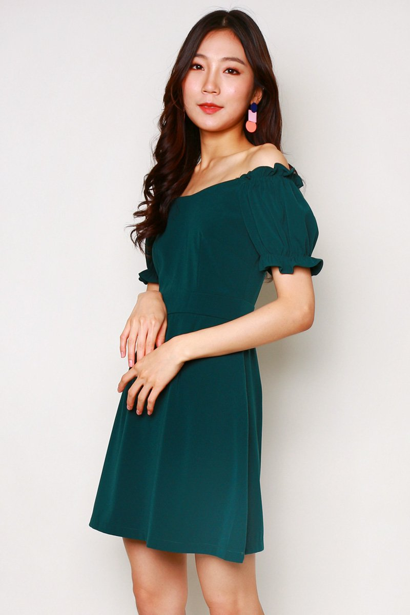 Ceara Puff Sleeve Dress Forest