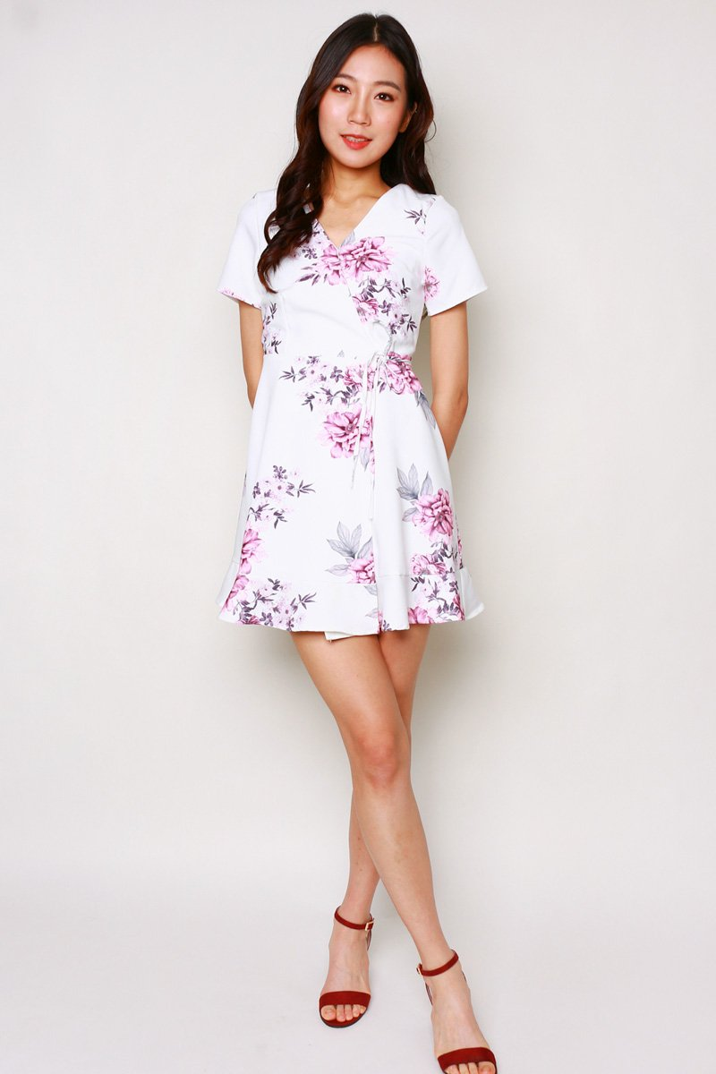 Nichele Floral Wrap Dress Ivory