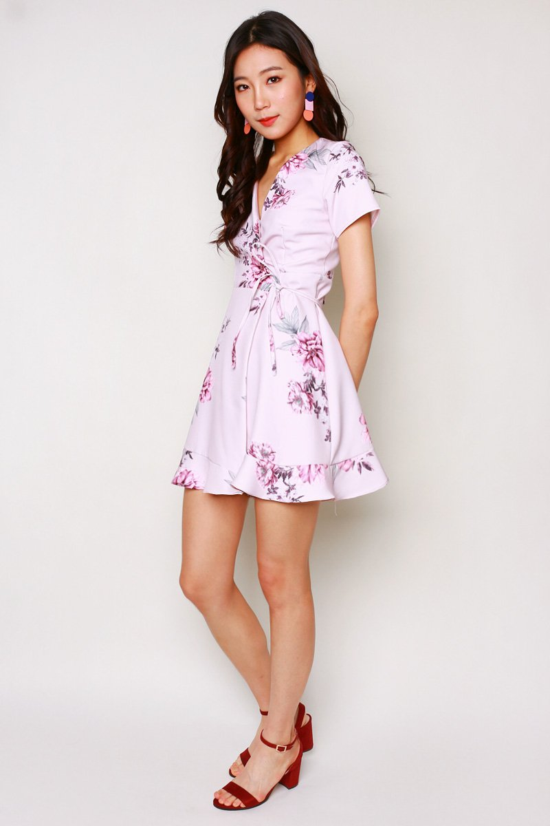 Nichele Floral Wrap Dress Blush