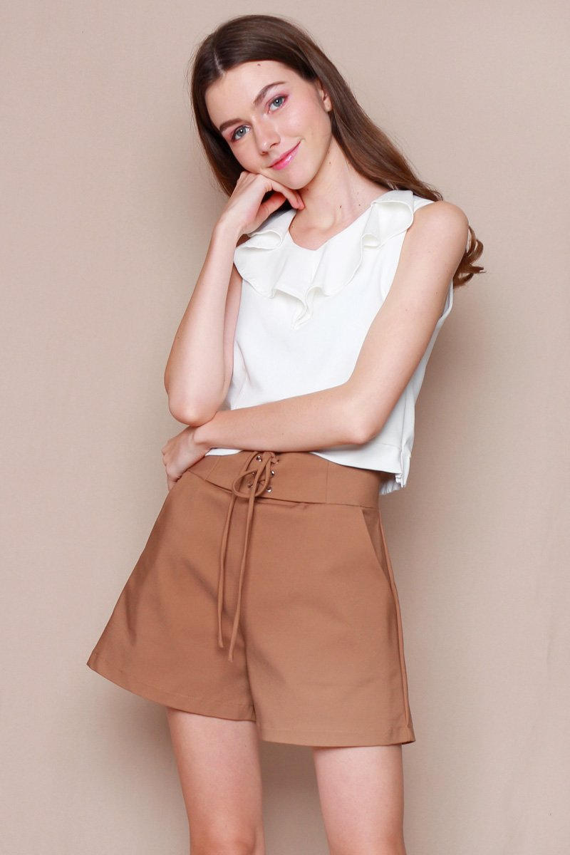 Zoei Lace Up Shorts Caramel