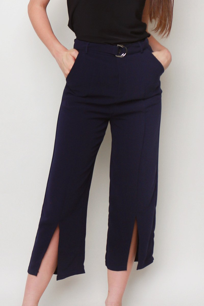 Aster Front Slit Culottes Midnight