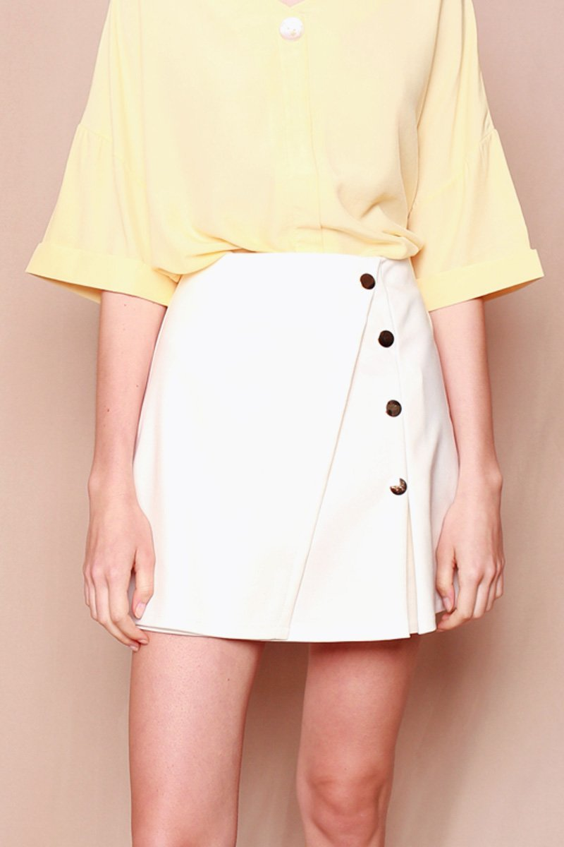 Kaede Button Down Pleated Skort Ivory