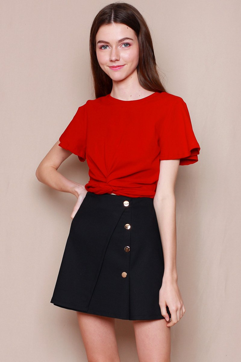 Kaede Button Down Pleated Skort Black