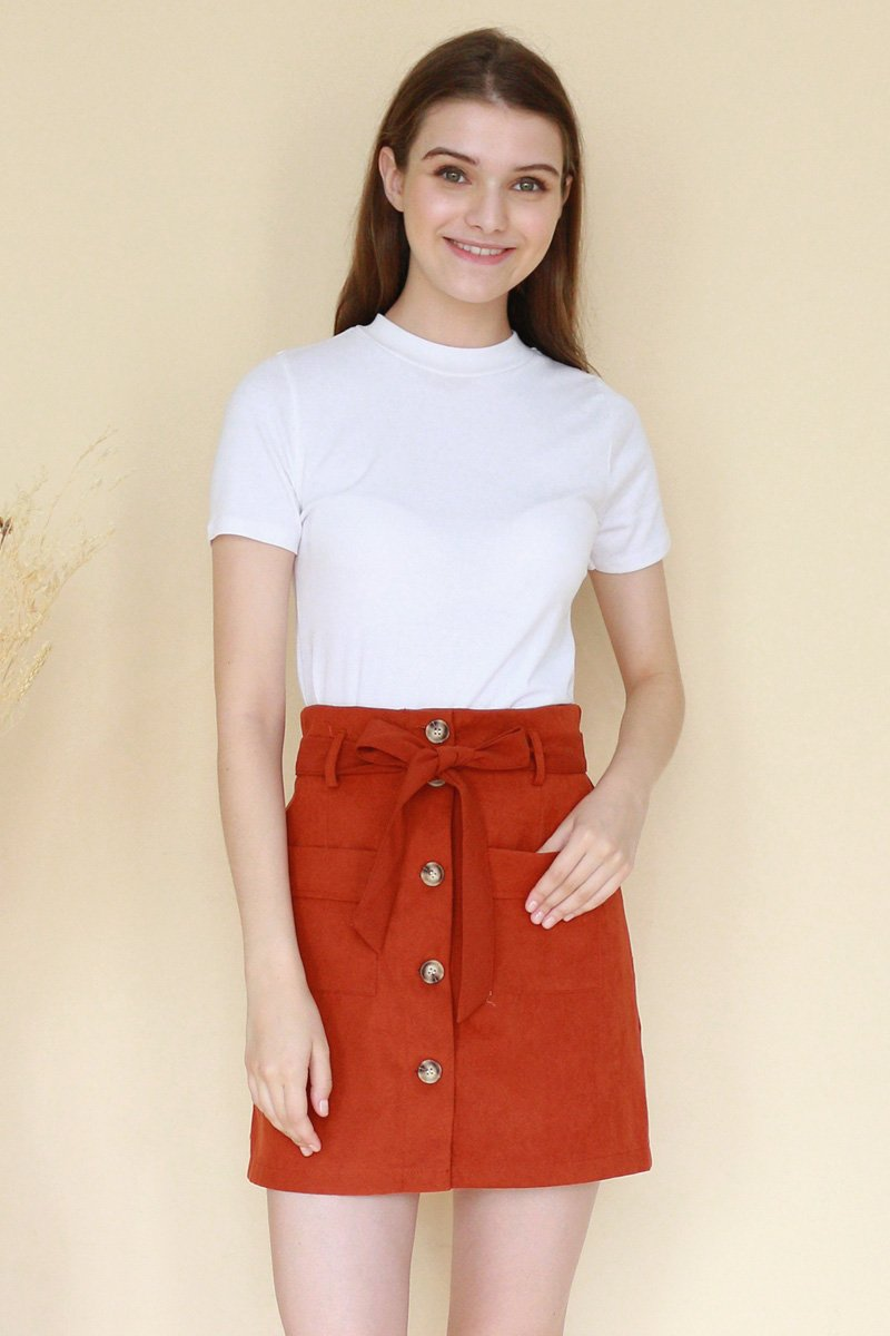 Dillon Paperbag Suede Skirt Rust