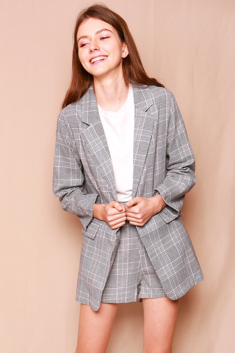 Cressida Plaid Blazer Set B/W