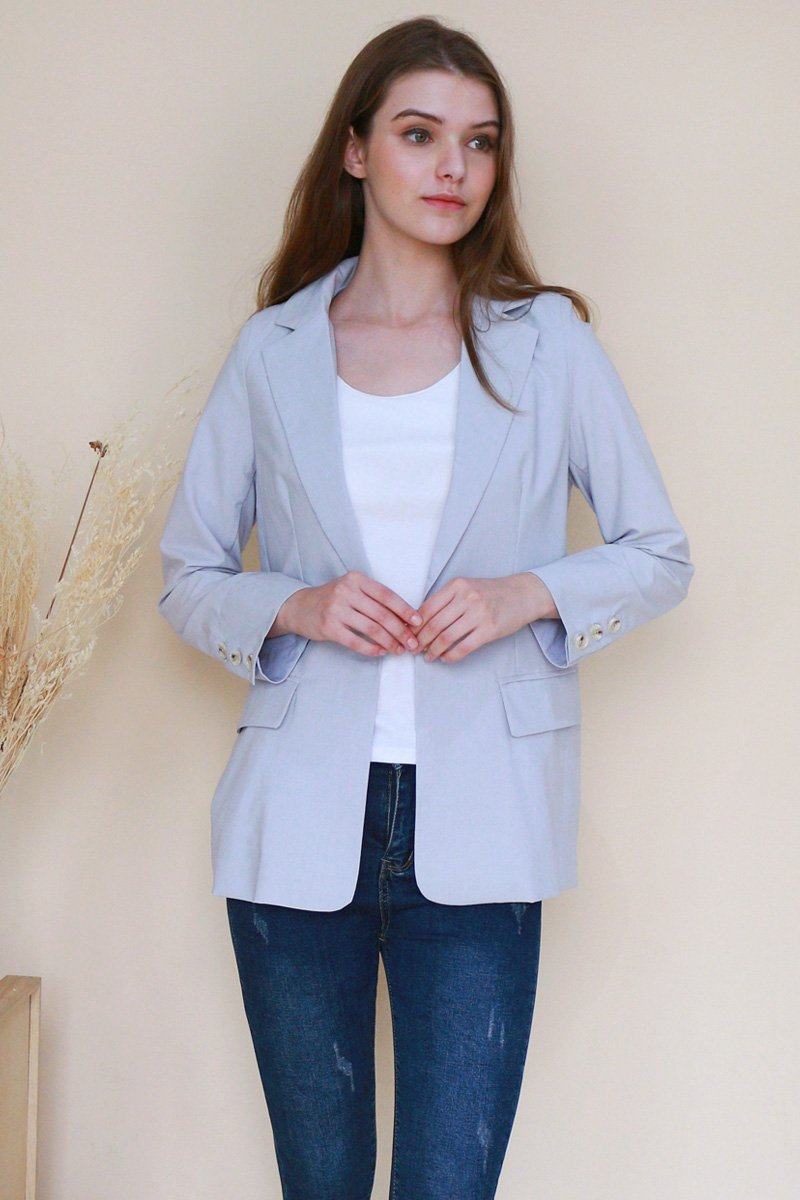 Denisha Button Blazer Smoke