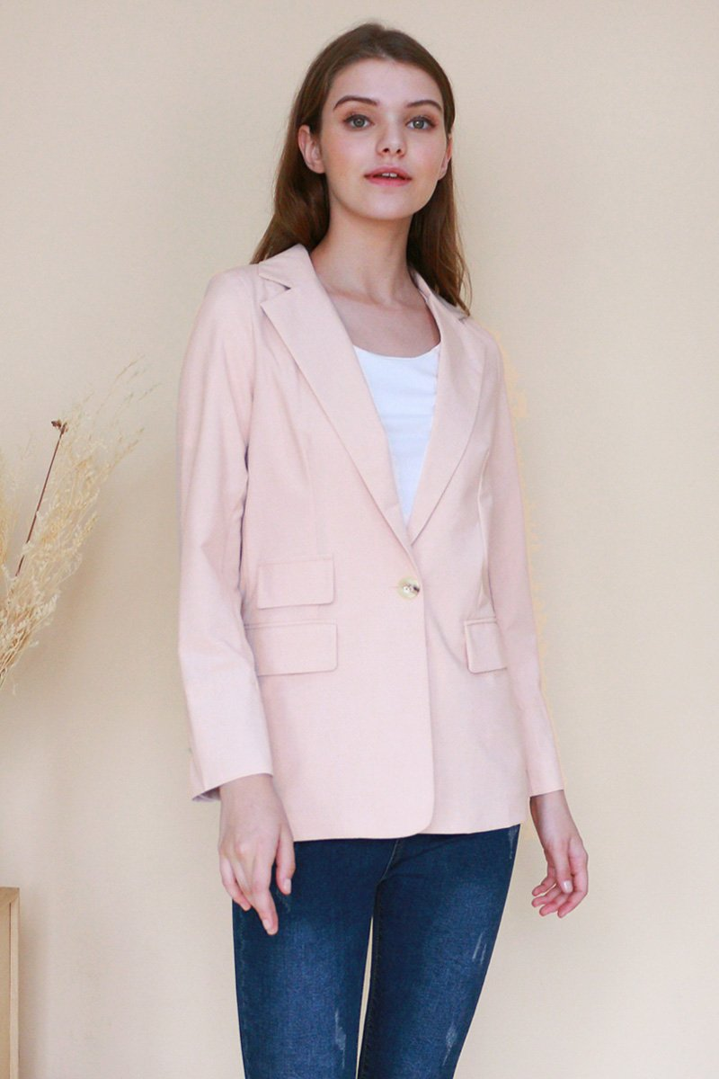 Denisha Button Blazer Beige