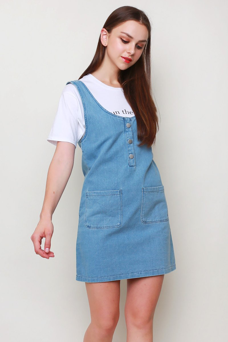 Cliona Denim Pinafore Light Denim