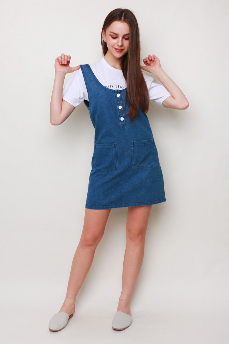 Cliona Denim Pinafore Dark Denim