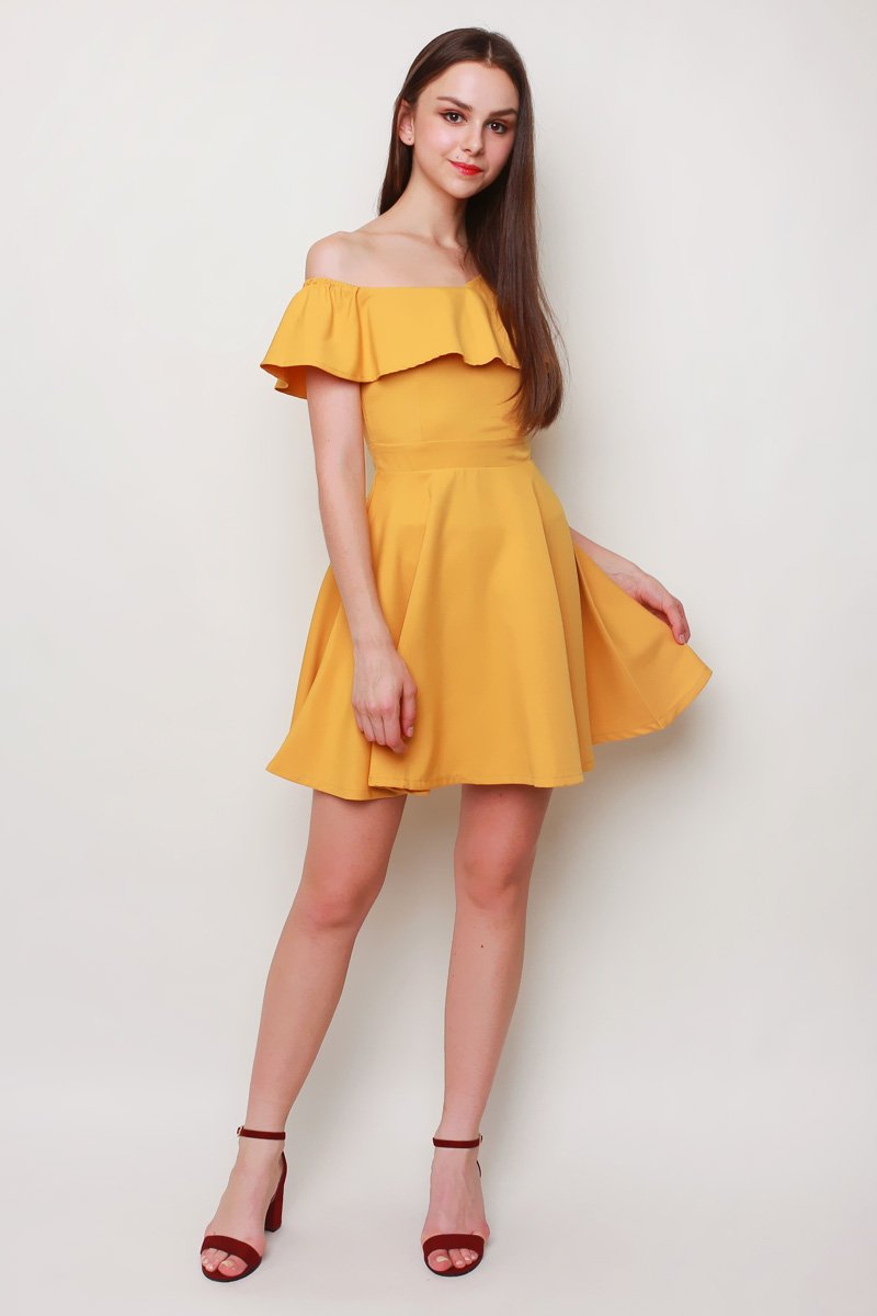 Shantal Ruffle Toga Dress Mustard