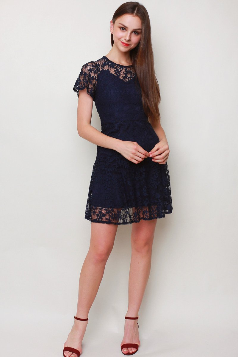 Eilis Lace Overlay Dress Midnight
