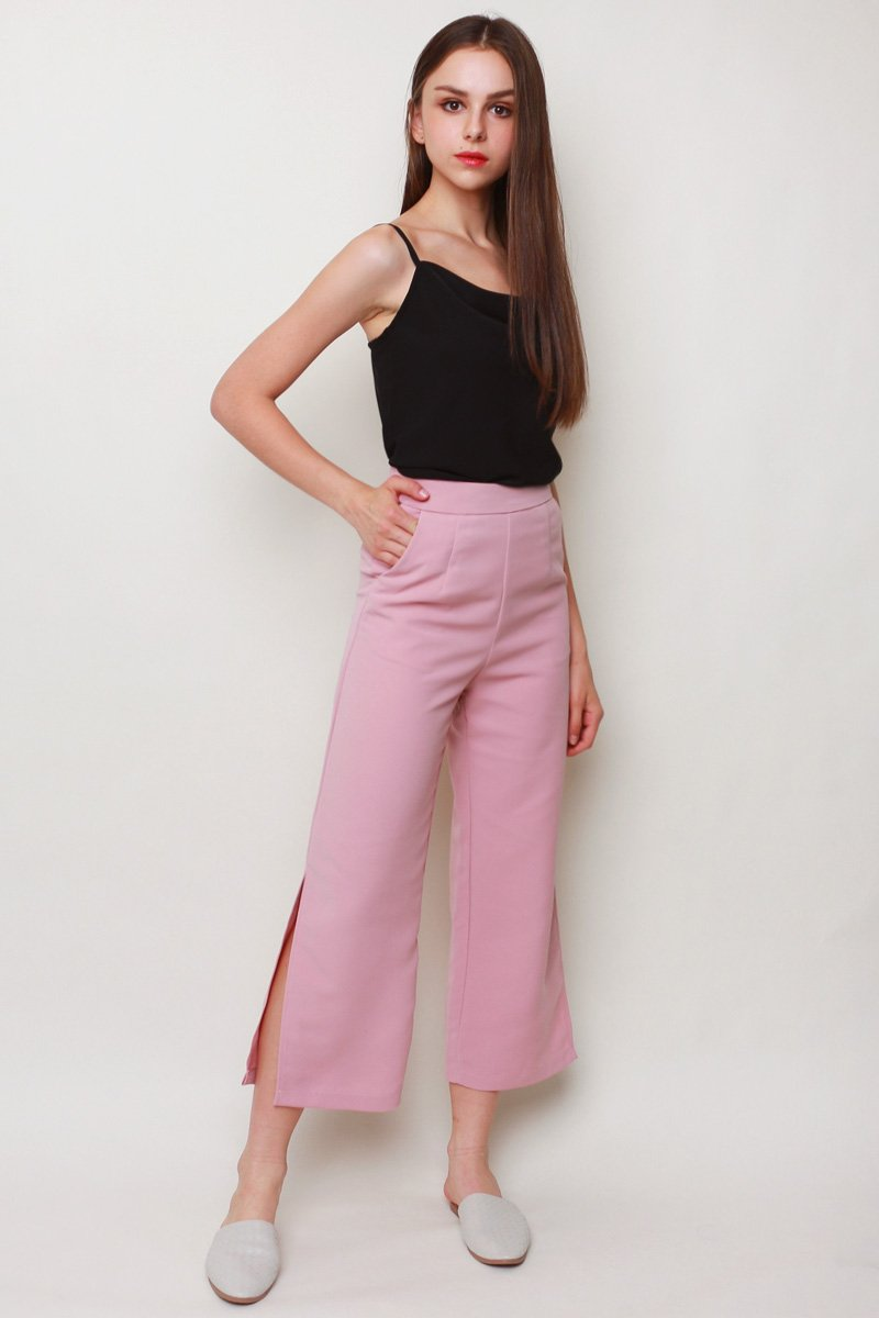 Nelda Side Slit Wide Leg Pants Blush
