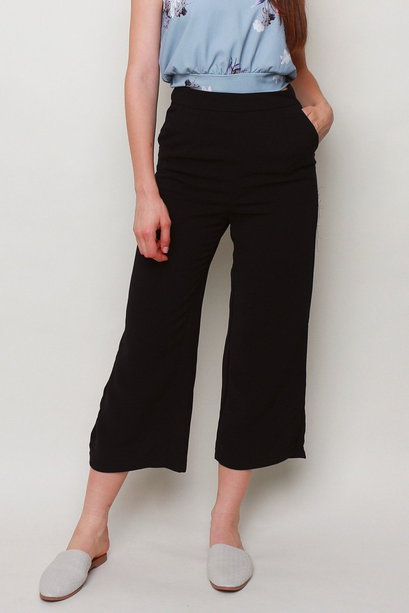 Nelda Side Slit Wide Leg Pants Black